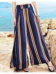Women's Mid Rise Stretchy Wide Leg Pants,Street chic Wide Leg Striped Color Block