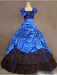 Victorien Rococo Costume Féminin Costume de Soirée Bal Masqué Bleu Vintage Cosplay Autre Sans Manches Mancheron Longueur Sol