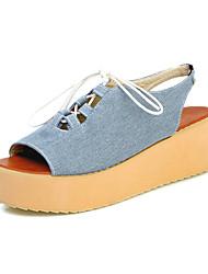 Women's Sandals Leatherette Spring Summer Lace-up Wedge Heel Navy Blue Light Blue Flat
