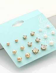 Stud Earrings Rhinestone Euramerican Fashion Imitation Pearl Rhinestone Alloy Round Jewelry 1 Set