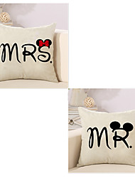 cheap -Set Of 2 Mr And Mrs Word Printing Pillow Cover Cotton/Linen Pillow Case Sofa Cushion Cover