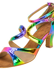 "cheap -Women's Latin Faux Leather Sandal Performance Buckle Cuban Heel Rainbow 2"" - 2 3/4"" Customizable"