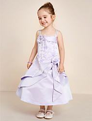 A-Line Tea Length Flower Girl Dress - Satin Sleeveless Spaghetti Straps with Beading