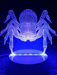 cheap -3D Acrylic Spider LED Lamp Discoloration Night Lights for Kids Room Decorative Scared Animals Lamps Remote Control Lights Lamps for Family