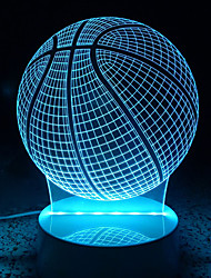 cheap -3D Acrylic Basketball LED Lamp Discoloration Globe Night Lights for Kids Room Decorative Lamps Remote Control USB Lights Sports Lamps for Family
