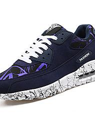 Men's Athletic Shoes Comfort PU Spring Fall Casual Walking Comfort Flat Heel Ruby Dark Blue Black 2in-2 3/4in