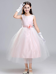 Ball Gown Tea Length Flower Girl Dress - Organza with Flower by YDN