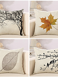 cheap -4 pcs Cotton / Linen Pillow Cover / Pillow Case, Botanical / Novelty / Classic Classical / Retro / Traditional / Classic