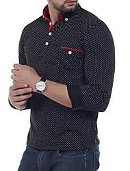 Недорогие -Муж. Polo, Рубашечный воротник Шинуазери (китайский стиль) Растровые точки