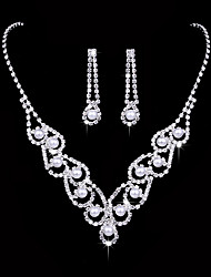 cheap -Women's AAA Cubic Zirconia Cubic Zirconia Silver Jewelry Set - Elegant Fashion Round Drop Drop Earrings Choker Necklace Bridal Jewelry