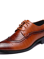 cheap -Men's Formal Shoes Leather Spring / Fall British Oxfords Walking Shoes Black / Brown / Red / Wedding / Party & Evening