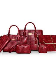 preiswerte -Damen Taschen PU Bag Set 6 Stück Geldbörse Set für Ganzjährig Blau Weiß Schwarz Rote Braun