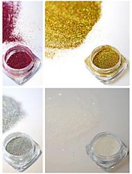 4bottles/set 0.2g/bottle Fashion Colorful Shining Nail Art Laser Glitter Holographic Fine Powder DIY Charm Pigment Gorgeous Decoration JX01-04