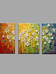 cheap -Classic Handmade Knife Flower Oil Painting 3 Piece/set Home Decor with Stretched Framed Ready to Hang