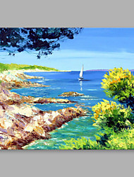 cheap -IARTS®  Hand Painted Oil Painting Vintage Summer Beach Abstract Art Acrylic Canvas Wall Art For Home Decoration