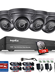 SANNCE® 4CH CCTV Security System 1080P AHD/TVI/CVI/CVBS/IP 5-in-1 DVR with 4*2.0MP Cameras with 1TB HDD