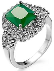cheap -Ring Settings Ring  Luxury Elegant Noble Zircon Square 2 Colors  Women's  Rhinestone Euramerican Fashion Birthday Wedding Movie Gift Jewelry