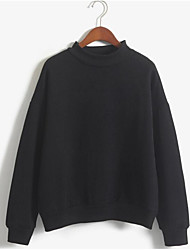 Women's Casual/Daily Simple Sweatshirt Solid Round Neck Inelastic Polyester Long Sleeve Fall Winter