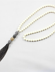 cheap -Women's Beaded / Tassel / Long Pendant Necklace - Friends, Heart Unique Design, Acrylic, Natural Black Necklace For Party, Graduation, Thank You