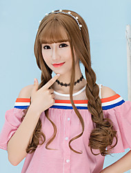 cheap -Cheap Women Synthetic Wigs Long Dark Chestnut Brown Grey Natural Lolita Wig Wave Middle Part With Bangs Natural Lolita Wig