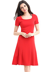 Womens Sexy Elegant  Square Neck Short Sleeve Vintage Casual Work Business Party Swing A-Line Skater Dress