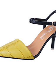 cheap -Women's Heels Basic Pump Summer PU Walking Shoes Wedding Casual Dress Party & Evening Buckle Stiletto Heel Black Yellow Ruby 5in & over