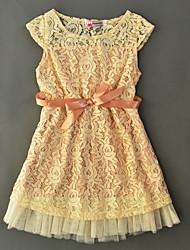Girl's Solid Dress Cotton Summer Short Sleeve Lace Fashion Kids Girls Dress Princess Dress
