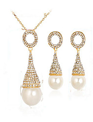 Women's Bridal Jewelry Sets Imitation Pearl Fashion Euramerican Party Event/Party Dailywear Gold Plated Alloy Drop
