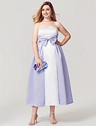 A-Line Strapless Tea Length Satin Homecoming Formal Evening Dress with Bow(s) Side Draping Pleats by TS Couture®