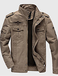 Men's Casual/Daily Simple Winter Jacket,Solid Stand Long Sleeve Regular Cotton Others