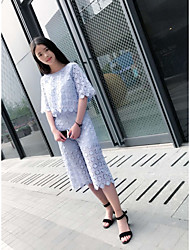 Women's Going out Casual Summer T-shirt Pant Suits,Solid Floral Round Neck ½ Length Sleeve Modern Style strenchy