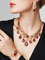 cheap -Women's Synthetic Ruby Cut Out Jewelry Set - 18K Gold Plated, Rhinestone Floral Theme, Flower Luxury, Bohemian, Fashion Include Drop Earrings / Statement Necklace / Statement Ring Gold For Party