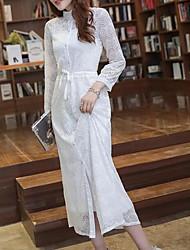 Chemisier Robes Costumes Femme,Couleur Pleine Quotidien Contemporain Printemps Manches longues Mao