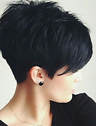 cheap -Women's Human Hair Capless Wigs Straight Pixie Cut With Bangs Short Natural Black