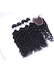 cheap -Short Size 4pcs 400g 100% Unprocessed Natural Black Natural Wave Brazilian Remy Human Hair Wefts with 1Pcs 4x4 Lace Top Closures Human Hair Extensions