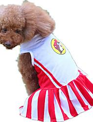 abordables -Chien Robe Vêtements pour Chien Rayure Rouge Térylène Costume Pour les animaux domestiques Décontracté / Quotidien