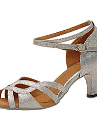 "Women's Latin Sparkling Glitter Sandal Performance Criss-Cross Stiletto Heel Silver 3"" - 3 3/4"" Customizable"