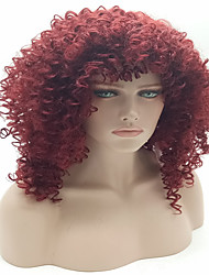 Hot Curly Synthetic Wigs For Black Women Short Red Color African American Wig