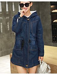 Women's Daily Simple Casual Winter Fall Coat,Solid Hooded Long Sleeve Regular Others