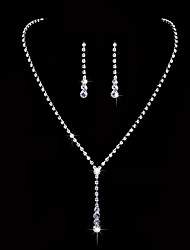 cheap -Women's AAA Cubic Zirconia Cubic Zirconia Drop Jewelry Set - Classic / Elegant / Simple Style Silver Drop Earrings / Choker Necklace /