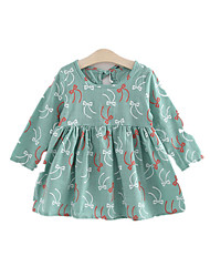cheap -Girl's Dress, Cotton Acrylic Winter Fall Long Sleeves Floral Light Green