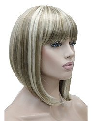 Fashion Short Straight Blonde Wig Highlighted Bob with Bangs Synthetic Wig for Women