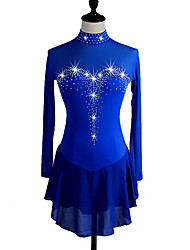 cheap -Figure Skating Dress Women's Girls' Ice Skating Dress Aquamarine Dark Navy Rhinestone High Elasticity Performance Skating Wear Quick Dry