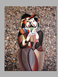 cheap -Hand-Painted People Square, Modern Style Canvas Oil Painting Home Decoration One Panel