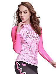abordables -SBART Femme Costumes humides Chinlon Tenue de plongée Manches Longues Hauts/Top-Plage Sports Nautiques Plongée Toutes les Saisons Imprimé
