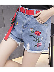 cheap -Women's Straight Shorts Jeans Pants - Solid Embroidery, Denim