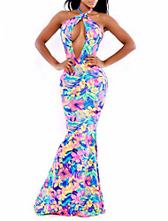 cheap -Women's Party Sexy Sheath Trumpet/Mermaid Dress,Floral Halter Maxi Sleeveless Linen Cotton Blend Spring Summer High Rise Micro-elastic