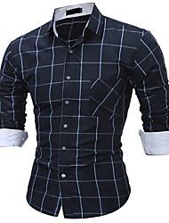 Masculino Camisa Social Diário Casual Todas as Estações,Listrado Algodão Colarinho de Camisa Manga Comprida