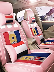 Car Seat Cushion Car Seat Cover Family Car Leather Seat Cover Four General--French Pink