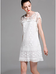 Women Casual/Daily Work Sexy Cute Sophisticated A Line Dress,Solid Round Neck Mini Short Sleeve Polyester Cotton Blend All Seasons Summer
